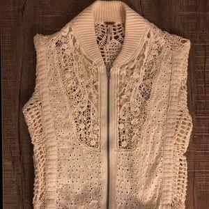 Free People Crochet & Lace Zip Up Sweater